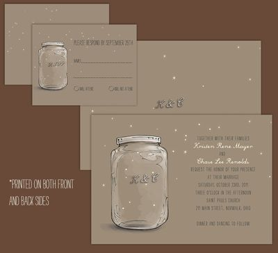 An illustrated Mason Jar Wedding Invite MasonJarWedding