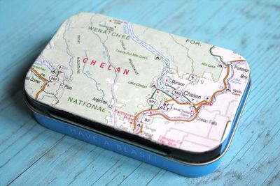 Map Cover Upcycled Mint Tin  - Yesterday on Tuesday