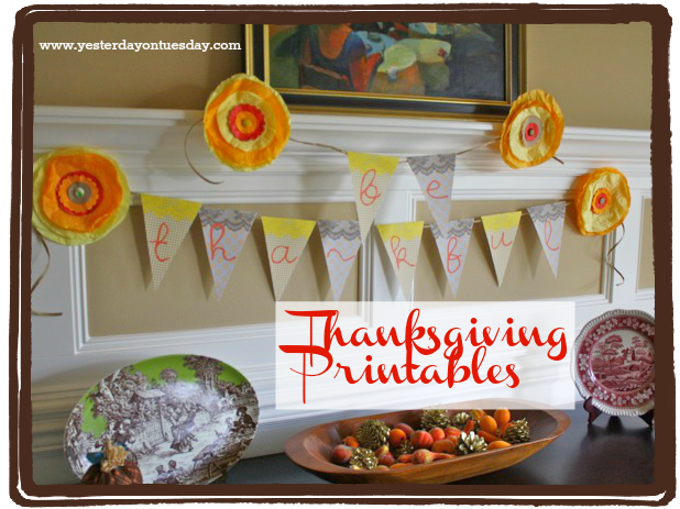 Thanksgiving Printables - Yesterday on Tuesday #thanksgiving