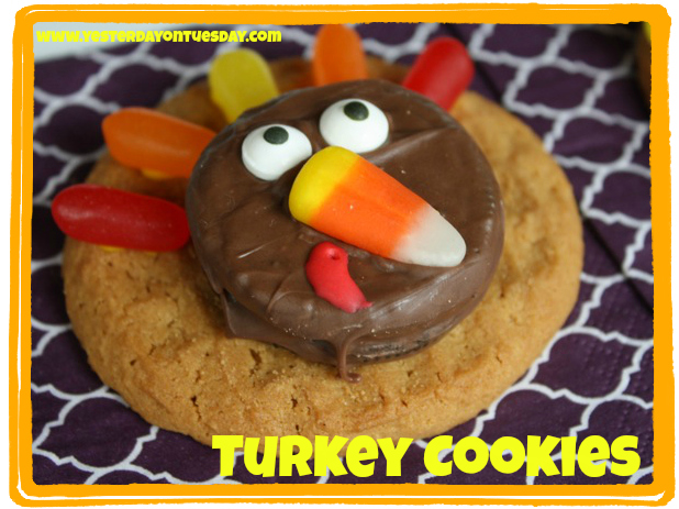 Turkey Cookies - Yesterday on Tuesday #thanksgiving #turkey